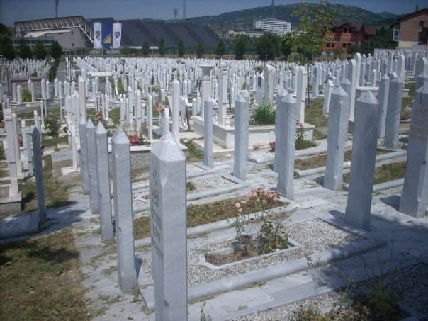 A graveyard in Sarajevo with victims from the Balkan Wars, steps away from the stadium used in the 1984 Winter Olympics.