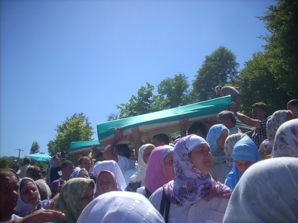 Procession of coffins during the commemoration of the Srebrenica Massacre, July 2008.