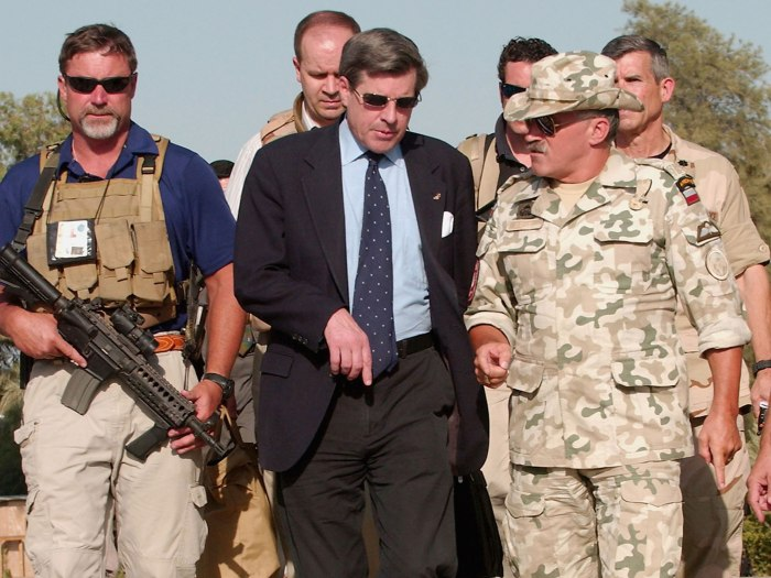 U.S. administrator of Iraq, Paul Bremer, in 2004. Under Bremer's tenure, the U.S. coalition made the key strategic decision to rid Iraq's transitional government of officials previously associated with Saddam Hussein's Baath Party. Source: Getty Images