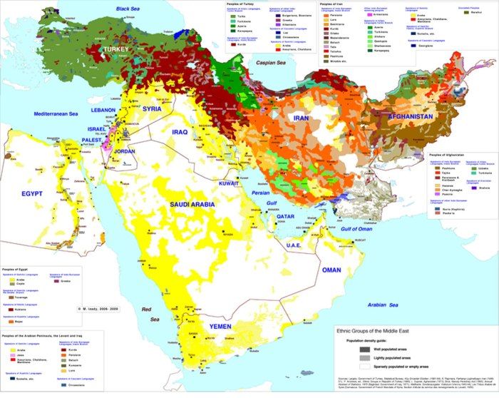 Map of major ethnic groups in the Middle East. Source: Columbia School of International and Public Affairs